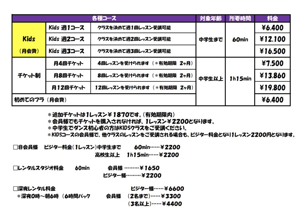 ダンススタジオグローアップ料金システム表